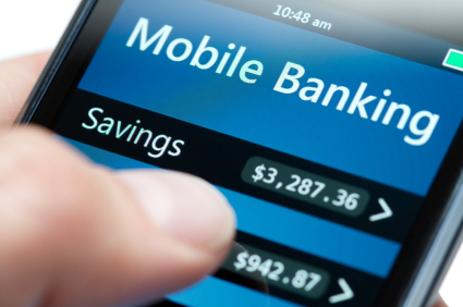 Close up of a smart phone doing mobile banking.
