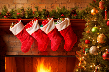 Stockings hanging over a fireplace.